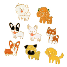 1 pcs Chien Chiot Broche Émail Caniche Labrador Corgi Bouledogue Animal Broches Bouton Sac Veste T-shirt Col Badge Mode Bijoux