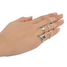 New Design 6 Pcs Silver Color Alloy Leaf Shape Inlay Crystal Knuckle Nail Midi Finger Ring Sets For Women Girls Jewelry