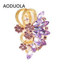 Gold Color with Rhinestone Brooches For Female Pins Lapel Pin For Wedding Women Scarf Clip Collar Tips Bouquet Clip