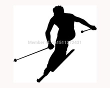 New Ski Sticker Skier Silhouette Car Window Truck Bumper Auto SUV Door Vinyl Decal 9 Colors(China)