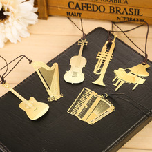 2 Pcs Cute Kawaii Golden Metal Music Bookmarks Piano Guitar Trumpet Designs Book Marks Korean Stationery