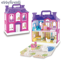 Musical Dollhouse Set With Plastic Furniture Cute Sounding Room Model Big Doll House Furniture Toy Miniature Bed Kitchen DIY Kit