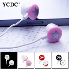+Cheap+ Pink Black White Red Star 3.5mm In-ear Stereo Earphone Headset For Xiaomi HTC Samsung iPhone PC MP3 MP4