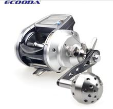 Ecooda EMA1500 baitcasting fishing reel for sea,5.1:1 9BB,electronic line counter,dual power,left/right hand,free shipping
