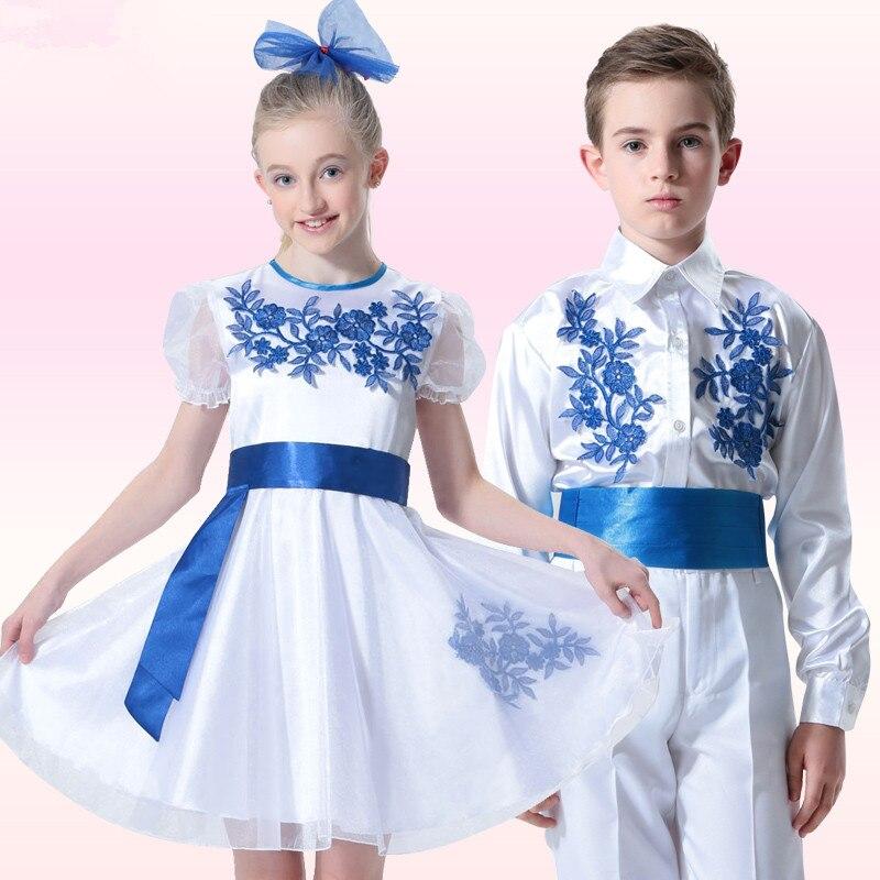 Fresh Elegant Girls Floral Dresses Classic Blue and White Porcelain Appliques Children Dance Dress Romantic First Date Dress<br><br>Aliexpress