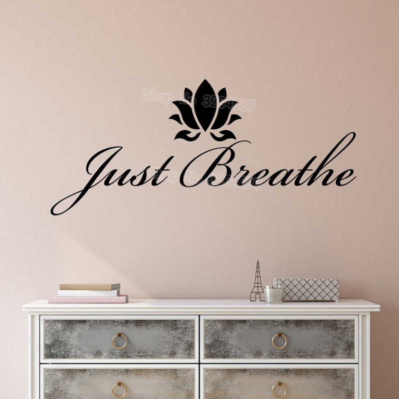 simple vinyl wall decal stickers motivation quote yoga relaxing