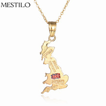 Gold Color United Kingdom Map National Flag Pendant & Necklace for Women Men England Country Map Jewelry Best Friend Accessory