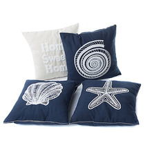 Fashion Pillow Case Canvas Conch/Shell/Starfish/Letter Embroidery Pillows Shell Bedroom Sofa Car Office Cushion Cover TB