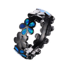 Vintage Five Leaf Flower Design Black Gold Filled Blue Fire Opal Rings For Women/Men Fashion Wedding Jewelry RB1046(China)