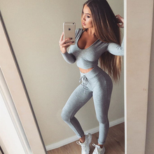 Women Cotton Sportwear Legging Autumn Elastic Comfortable High Waist Grey and Black Leggin +Long Sleeve Crop Tops 2PCS 831072(China)