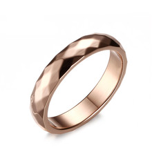 SIZZZ 4mm Rose Gold Wedding Ring for Women Stainless Steel Custom Engraved