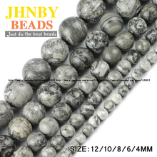 JHNBY Map stone beads Natural Stone High quality ore Round Loose bead ball 4/6/8/10/12MM Jewelry bracelet making DIY Accessories