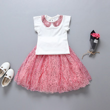 2017 Summer Baby Girl Cloth set Tshirt+Fluffy skirt sets for girls children clothes tutu princess skirts baby girl clothing 2-7y