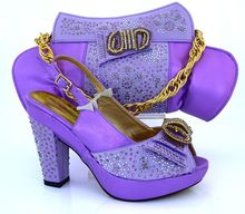 Hot Selling Italian Shoes And Matching Bags Set With Stones Lilac color ladies Shoes And Bags To Match for girl party MM1019