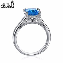 Effie Queen Silver Engagement Wedding Rings for Women Trendy 4 Prong Setting Woman Ring Crystal Jewelry 2017 DR138(China)