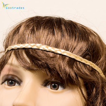 1pcs Fashion Women Girl Synthetic Hair Plaited Plait Elastic Headband Hairband Braided Band Hair accessories Bohemian Style(China)
