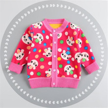 BibiCola new casual baby sweater boys girls autumn plus thick velvet cardigan sweaters Infant cartoon kids warm sweater(China)