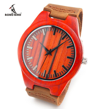 Personalized Design Red Wooden Wristwatch with Brown Genuine Leather Band Japan 2035 Move' Quartz Wood Watch as Gifts for Friend