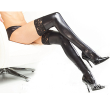 Buy Sexy Latex Stockings Lady Black Paint Leather Pole Dance Lace Stockings Leather Lady's Clubwear Length 85cm Micro Mini Stocking