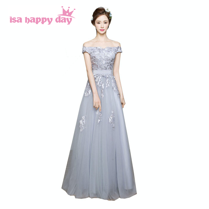 girls lace puffy sexy boat neck floor length tulle party ball dress size 8 women prom dresses 2019 new arrival long W3527