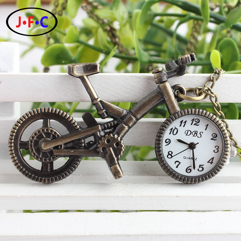 Personality lovely childhood bicycle silver pocket watch Keychain watch list bronze YS052<br><br>Aliexpress