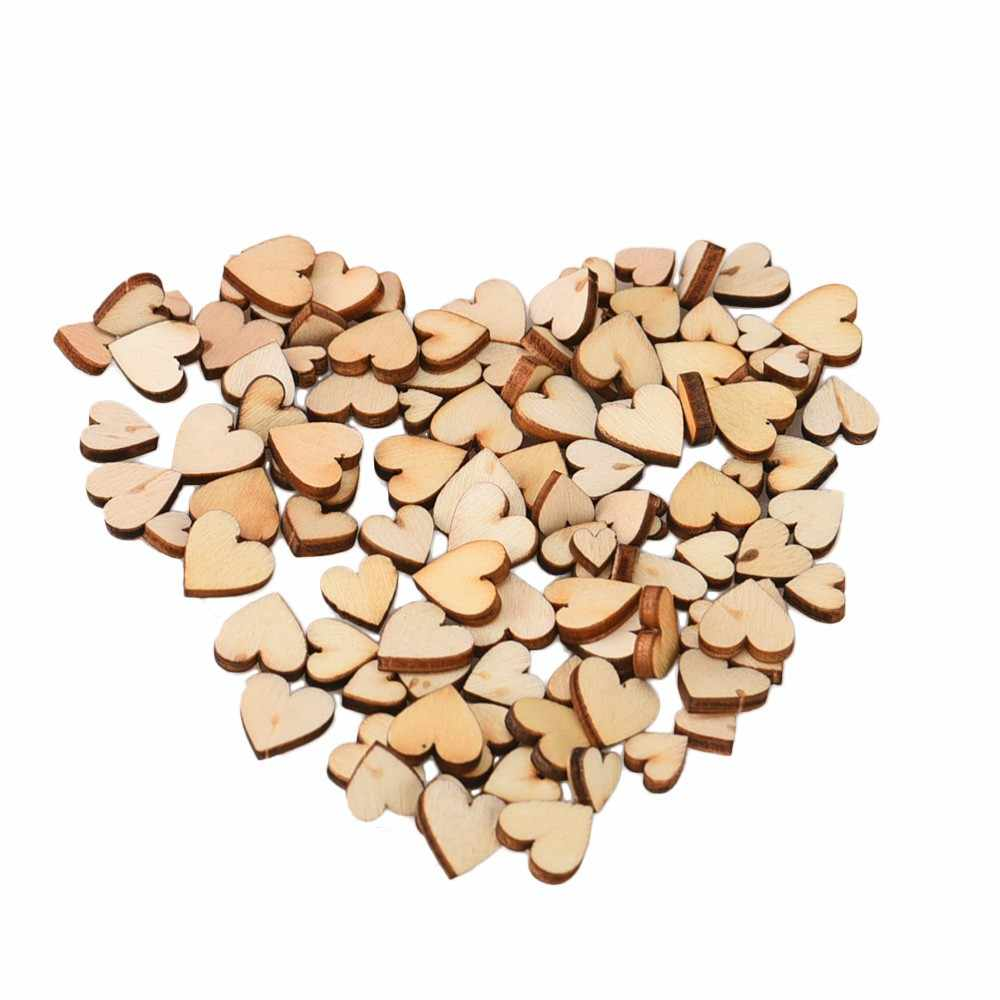 100Pcs Mini Wooden Love Heart Wedding Table Scatter DIY Craft Accessories Rustic Wedding Party DIY Decoration Favor Scrapbooking