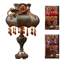 Classic crystal table lamp light fabric vintage retro European palace style bedroom table lamp light for bedside living bed room(China)