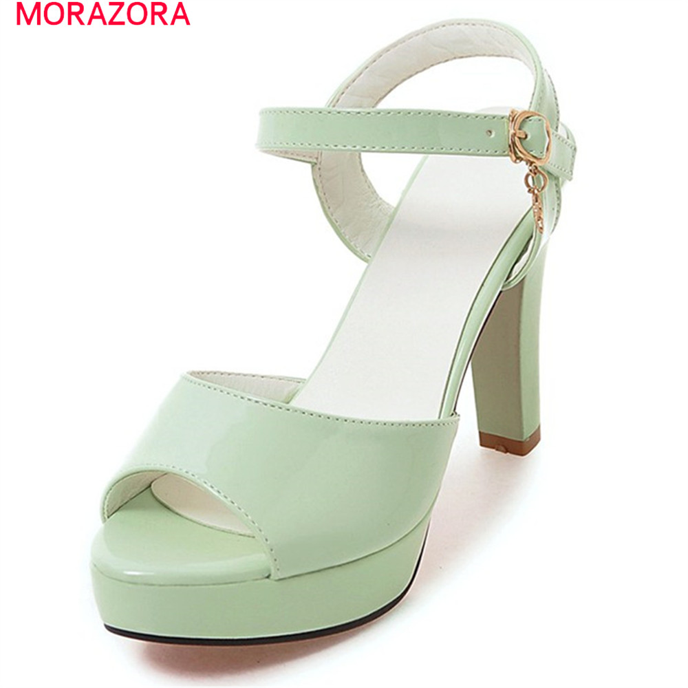 MORAZORA 2018 summer new prevail platform shoes extreme high heels square heel with buckle elegant woman sandals<br>