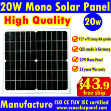 High quality 18V 20W monocrystalline silicon Solar Panel module Cell For Charger DC 12V Battery DIY Solar kit Power system