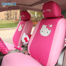 10Pcs Full Set Hello Kitty Printing Seat Covers Environment Friendly Universal Polyester Car Front Rear Accessories Seat Cover