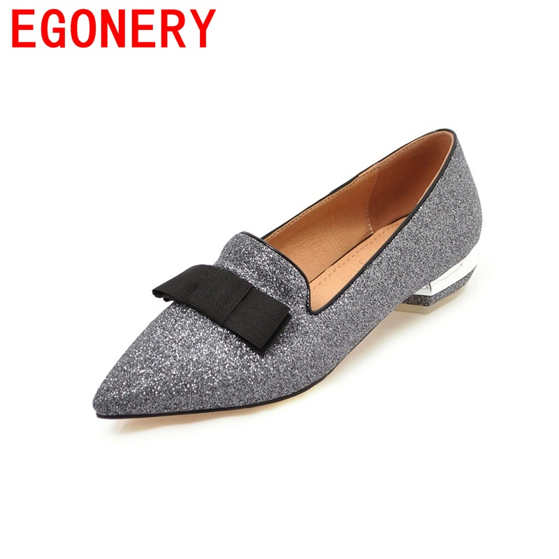 EGONERY high quality pointed toe graceful curve design woman shoes butterfly-knot decoration female zapatos mujer spring pumps<br>
