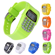 7 Colors 8-Digit Calculating Watch Digital Calculator with LED Light Watch Function Watch