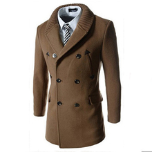 Trench coat men tops autumn winter double breasted trench medium and long thicken coat knitting collar splicing mens trench coat