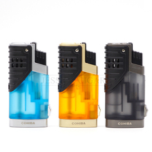 COHIBA Gedget Cigar Lighter Portable Butane Lighter 3 Jet Torch Flame Fire Tobacco With Cigar Cutter(China)