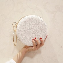 European Design Women Lace Floral Decoration Clutch Bag Ladies Diamonds Evening Bag Party Wedding Hand Bag Chain Purses Wallet