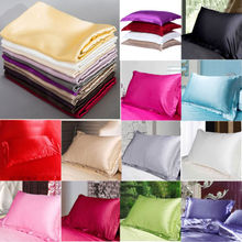 Summer Silk Pillow Satin Soft Cases Queen Standard Comfort Solid Protector(China)