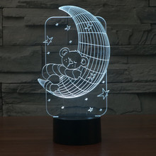 acrylic light 3D Lamp 7 Color Change LED Lighting Bear on Moon Star touch Switch Night Light Cartoon Bedside Nightlight IY803481