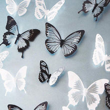 Crystal 18Pcs 3D Butterflies DIY home decor wall stickers for kids room Christmas party decoration kitchen refrigerator decal(China)