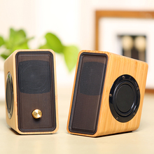 Natural Bamboo Hi-fi  Multimedia Bass Stereo Speaker Full Bamboo Subwoofer 2.0 Desktop Wooden Speaker for PC/Laptop/Mobile phone