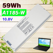 "White 59Wh A1185 A1181 Laptop Battery For Apple MA566 MA566FE/A MA566G/A MA566J/A FOR MACBOOK 13"" MA472 MA472B/A MA701 MB404X"