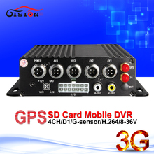DHL Free shipping 3G Mobile DVR, H.264 4CH HD Car dvr ,Real time ,GPS Track ,I/O,G-sensor,mini DVR,support iPhone ,Android Phone