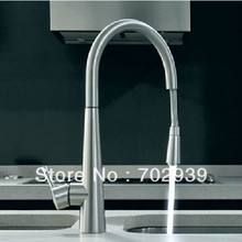 Free shipping Brushed nickel stain nickel clour pull out kitchen mixer faucet(China)