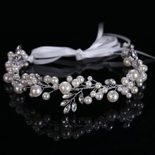 Fashion Women Tiara Hairbands Large&small Circular Pearls Hairbands Crystal Beads Hair Jewelry Hairwear CY161117-83