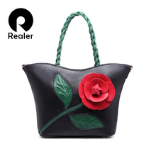 Luxury Brand 2016 Women Handbag With Flower Fashion Tote Bag Pink Hobo Handbags High Quality PU Leather Lady Shoulder Bags