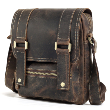 TIDING Leather Small Satchel for iPad Cool Vintage Style Messenger Bag with Flip Cover 1172