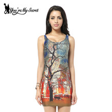 [You're My Secret] 2017 HOT Sundress Fashion Women Colorful TREE Print Galaxy Dress NEW MADE TO ORDER Sleeveless Wholesale Shirt