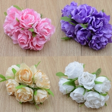 6pcs/lot Simulation roses silk flower hydrangea wreath DIY materials wholesale shooting background decorative flower(China)