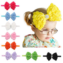 Buy Girls Big Bows Rose Flowers Rhinestones Elastic Hair Bands Solid Chiffon Headwear Headbands Hair Accessories Headwrap for $1.65 in AliExpress store