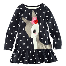 Dress Vestidos Kids Baby Girls Long Sleeve Lace Dress One-piece Dots Deer Cotton Dresses Toddlers Clothes