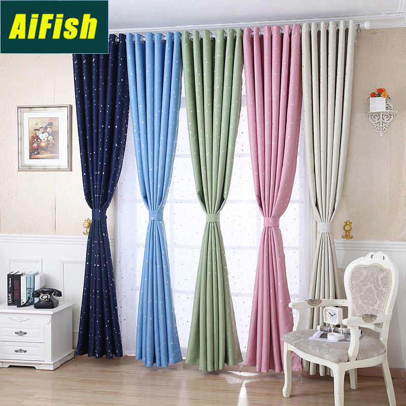 Silver Star Print Blackout Pink Curtains For Living Room Bedroom Thermal Insulated Draperies Children Room Blue Curtains WP123#3